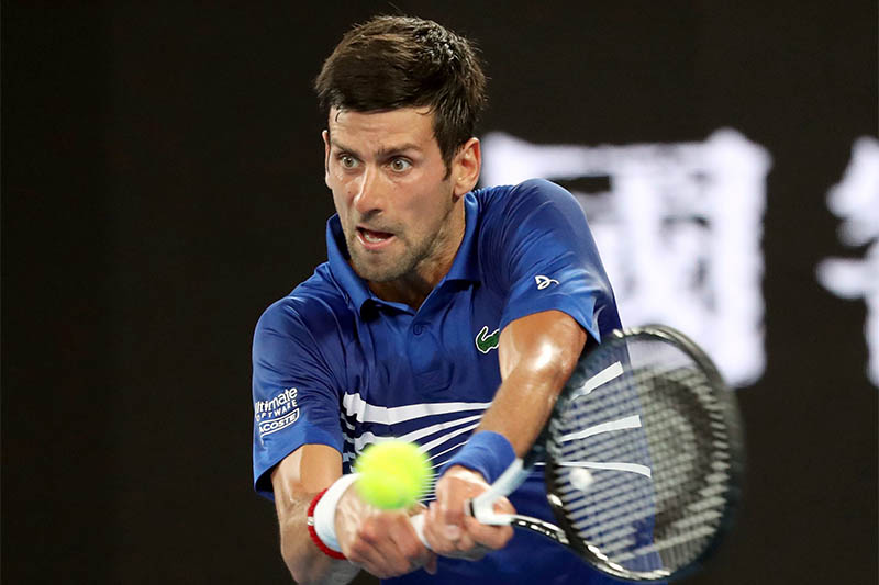 Serbiau2019s Novak Djokovic in action during the match against Mitchell Krueger of the US. Photo: Reuters