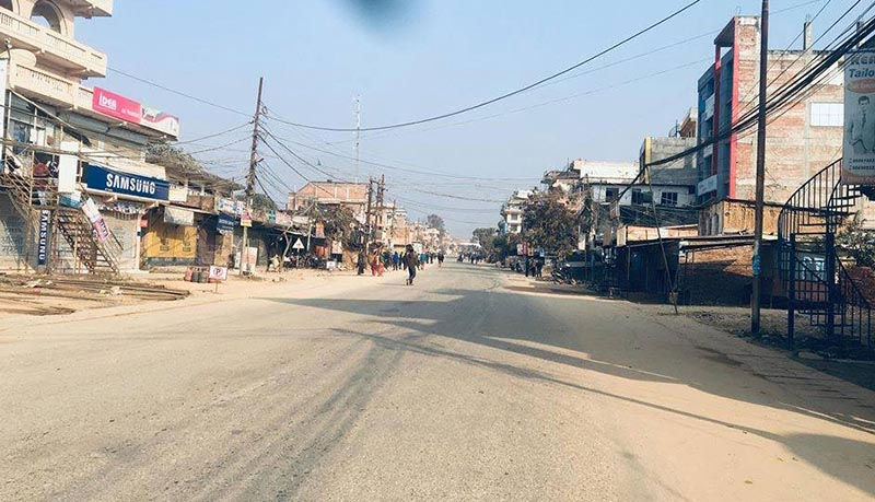 Battar Bazaar wearing a deserted look after locals affected by a road project protested demanding compensation for their land acquired by the project, in Nuwakot, on Sunday, January 20, 2019. Photo: THT