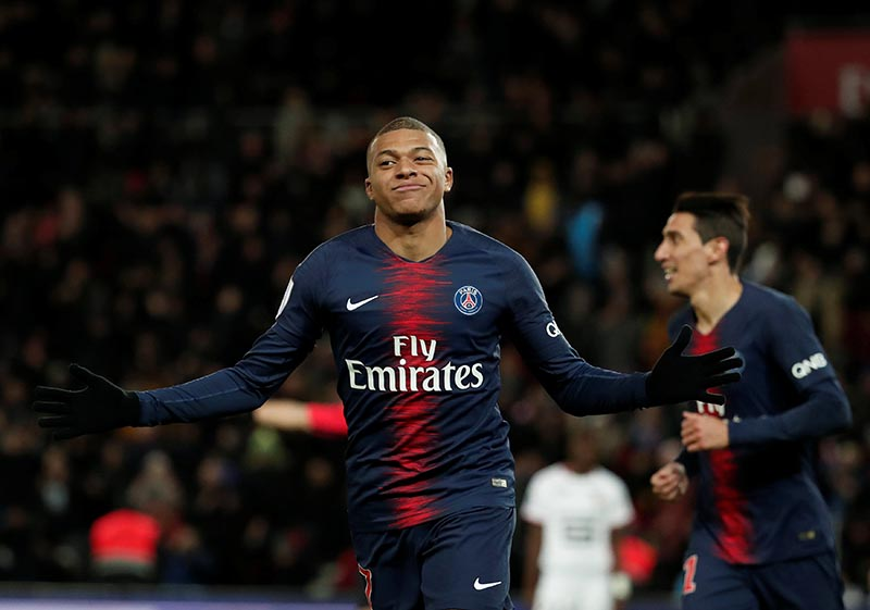 Paris St Germain's Kylian Mbappe celebrates scoring their third goal during the Ligue 1 match between Paris St Germain and Stade Rennes, at Parc des Princes, in Paris, France, in January 27, 2019. Photo: Reuters