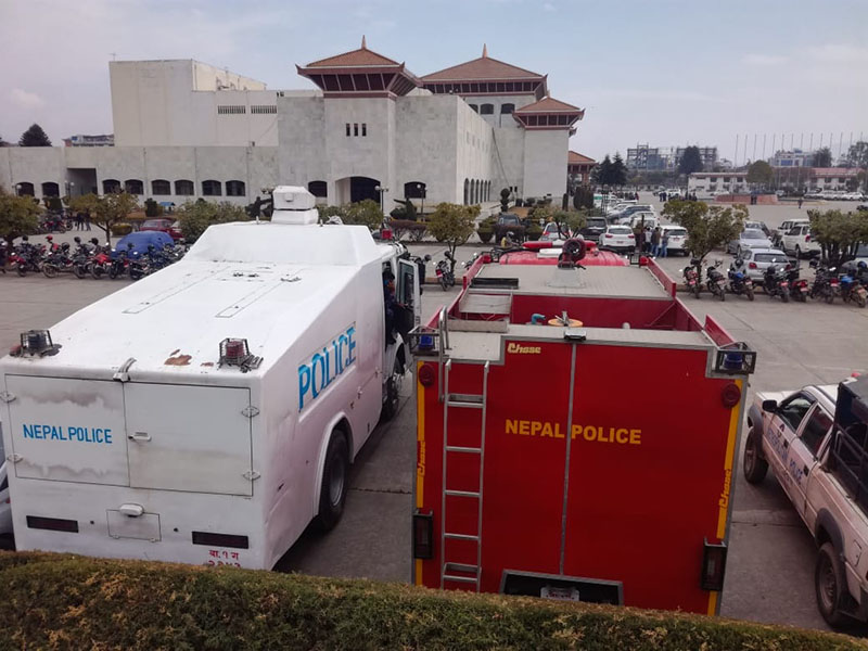 Riot police vehicles stationed at parliament premises amid the student protest in New Baneshwor, Kathmandu, on Friday, January 25, 2019. Photo: Rewati Sapkota/ THT