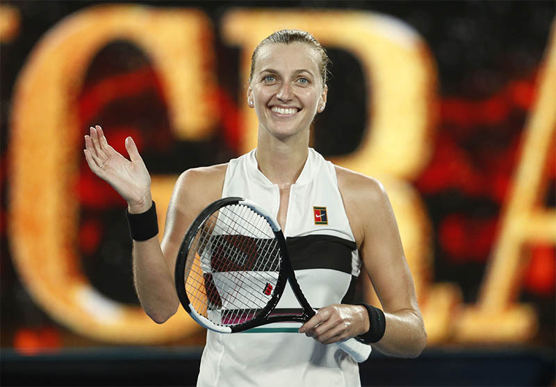 Czech Republic's Petra Kvitova celebrates after winning the match against Australia's Ashleigh Barty. Photo: Reuters