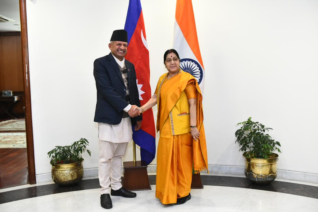 Foreign Affairs Minister  Pradeep Kumar Gyawali meets External Affairs Minister of India Sushma Swaraj on sidelines of Raisina Dialogue at the latteru2019s office in New Delhi on Thursday, January 10, 2019. Photo: Raveesh Kumar's Twitter.