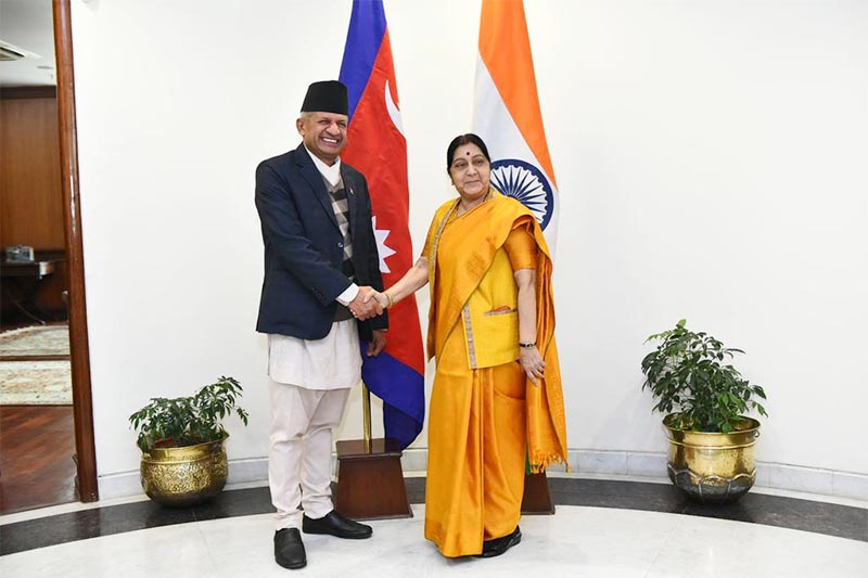 Minister for Foreign Affairs Pradeep Kumar Gyawali  shakes hands with Indian Minister of External Affairs Sushma Swaraj at the latteru2019s office in New Delhi, India, on Thursday, January 10, 2019. Photo: MEAIndia Twitter