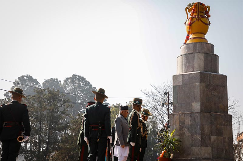 Prime Minister KP Sharma Oli paying homage to martyrs during a programme held to mark Martyrsu2019 Day in Lainchaur, Kathmandu, on Wednesday, January 30, 2019. Photo: THT