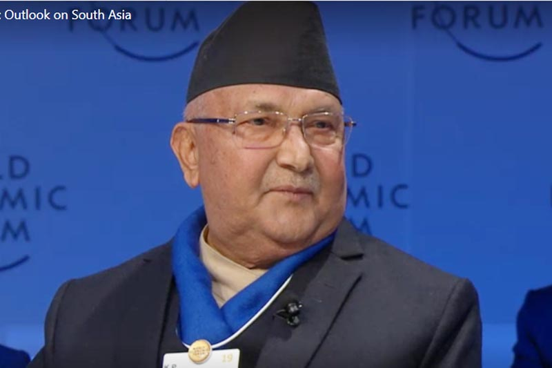 Prime Minister KP Sharma Oli speaks at a televised session on u2018Strategic Outlook on South Asiau2019 as a panelist at the 49th Annual Meeting of the World Economic Forum in Davos, Switzerland, on Tuesday, January 22, 201p. Photo: WEF videograb