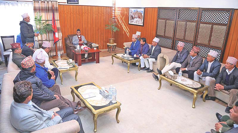 Prime Minister KP Sharma Oli holding a meeting with Nepal Communist Party (NCP) leaders from Jhapa, in Kathmandu, on Wednesday, January 2, 2019. Photo: RSS