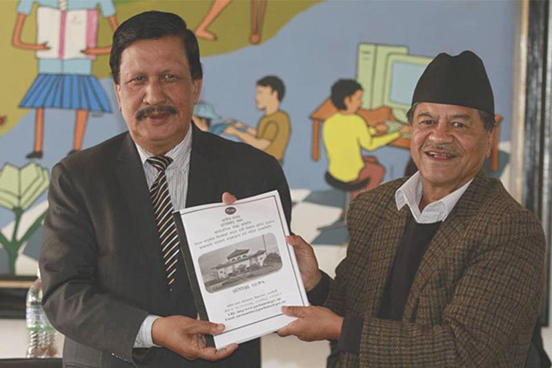 A sub-committee of the parliamentary Public Accounts Committee formed to probe irregularities in the purchase of two wide-body aircraft for the state-owned Nepal Airlines Corporation submits its report to the Committee, in Kathmandu on Wednesday, January 2, 2019. Photo: THT