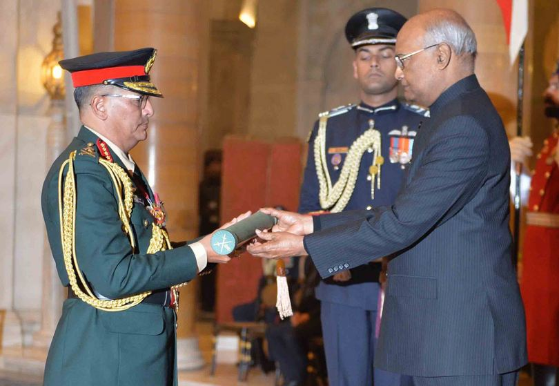 President of India Ram Nath Kovind confers the Honorary Rank of General of the Indian Army on General Purna Chandra Thapa, Chief of Army Staff, Nepal Army amid a special ceremony held in Delhi on January 12, 2019. Photo: President Kovinds' twitter