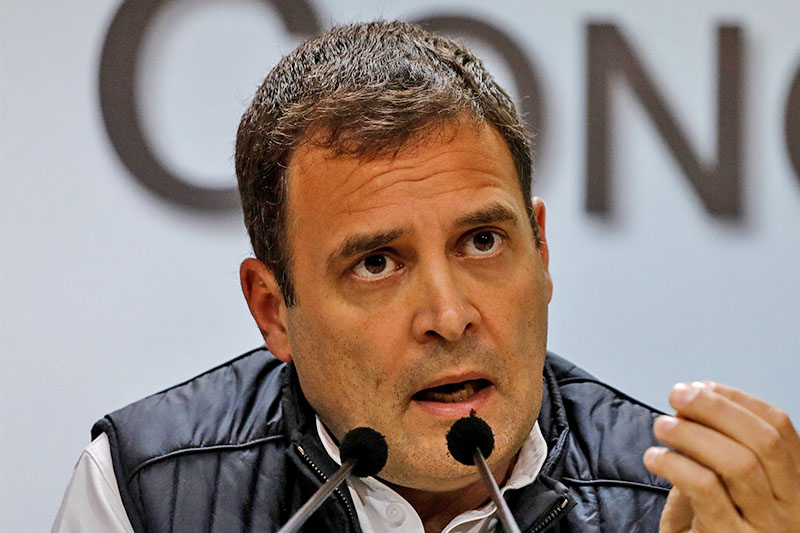 File: Rahul Gandhi, President of India's main opposition Congress party, speaks during a news conference at his party's headquarters in New Delhi, India, December 11, 2018. Photo: Reuters