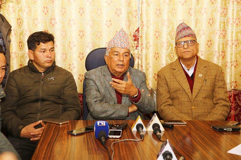 Nepali Congress senior leader Ramchandra Paudel (centre) addresses a convened press conference at Nepali Congress Parliamentary Party Office in Singha Dirbar, Kathmandu, on Monday, January 14, 2019. Photo: RSS
