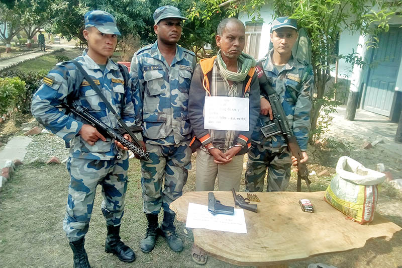 APF arrest man along with arms in Rautahat district, on Tuesday, January 29, 2019. Photo: Prabhat Kumar Jha