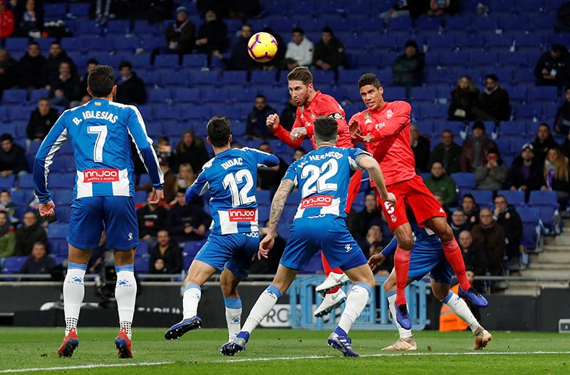 Real Madrid's Sergio Ramos scores their second goal during the La Liga Santander match between Espanyol and Real Madrid, at RCDE Stadium, in Barcelona, Spain, on January 27, 2019. Photo: Reuters