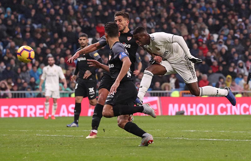 Real Madrid's Vinicius Junior heads at goal during the La Liga Santander, on Real Madrid and Sevilla, at Santiago Bernabeu, in Madrid, Spain, on January 19, 2019. Photo: Reuters