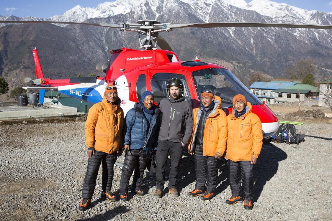 Rescued climbers from Makalu area posing for a group photo in Sankhuwasabha, on Wednesday, January 30, 2019. Photo courtesy: Photo courtesy: Pemba Jangbu Sherpa