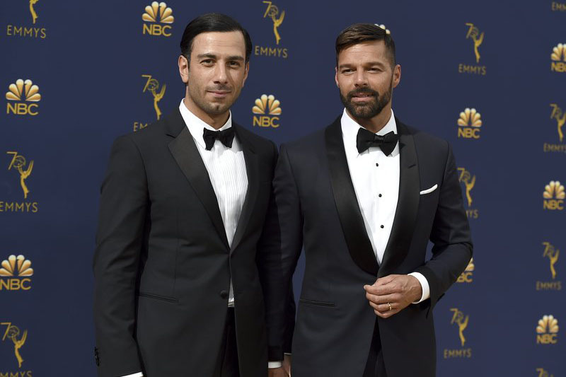 FILE - Jwan Yosef (left), and Ricky Martin arrive at the 70th Primetime Emmy Awards at the Microsoft Theater in Los Angeles. Photo: AP