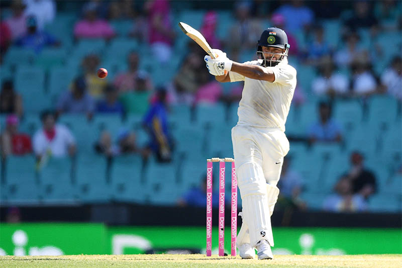 India's Rishabh Pant plays a shot to bring up his 150 runs on day two of the fourth test match between Australia and India at the SCG in Sydney, Australia, January 4, 2019. Photo: Reuters