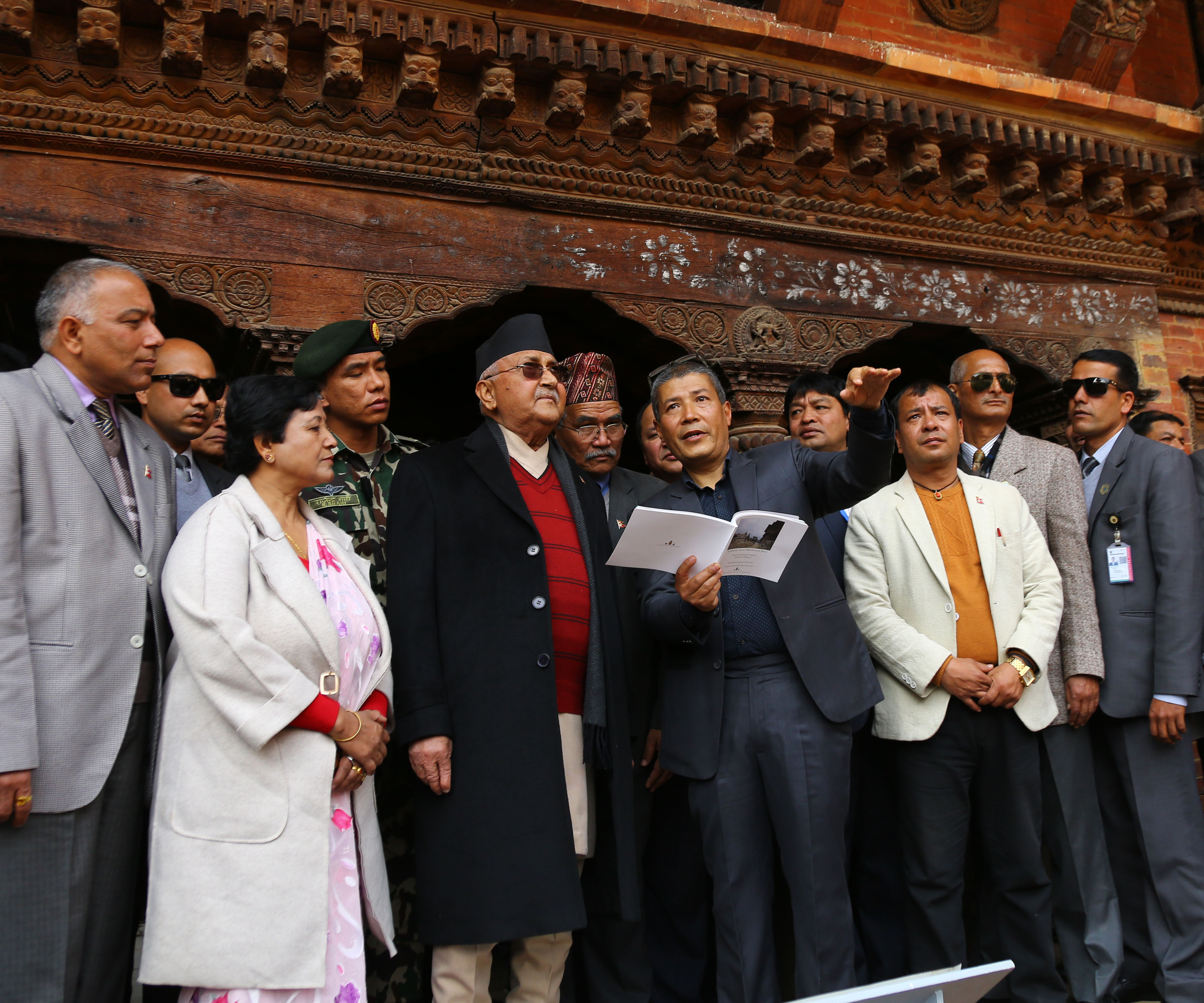 An official briefs Prime Minister KP Sharma Oli on reconstruction status of cultural heritage in UNESCO world heritage site- patan Durbar Square on Wednesday, January 16, 2019. Photo: RSS