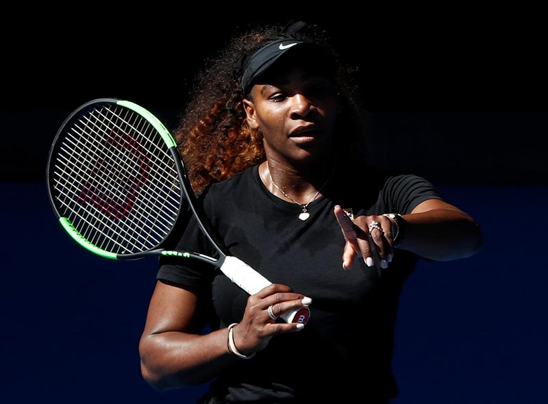 Serena Williams of the US trains before Australian Open, Melbourne Park, in Melbourne, Australia, on January 10, 2019. Photo: Reuters