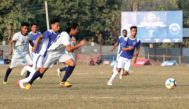 General view of the match between Nava Janajagriti Youth Club and Makawanpur-XI during the 10th Ruslan Simara Gold Cup at the Simara Stadium in Bara on Thursday. Photo: THT