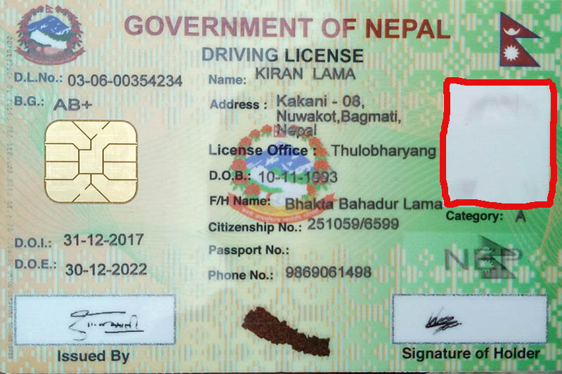 A license issued by the DoTM with a blot out image today. Photo: Mausam Shah Nepali