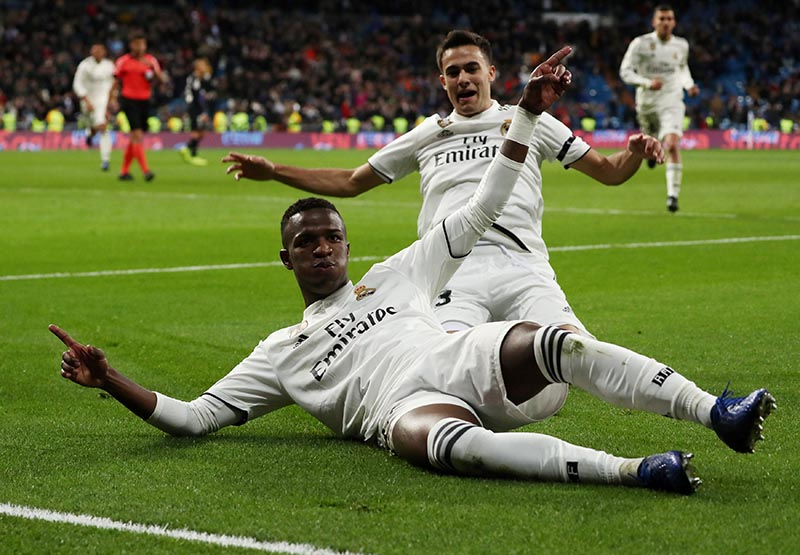 Real Madrid's Junior Vinicius celebrates after scoring their third goal during the Spanish King's Cup Round of 16 First Leg match between Real Madrid and Leganes, at Santiago Bernabeu, in Madrid, Spain, on January 9, 2019. Photo: Reuters