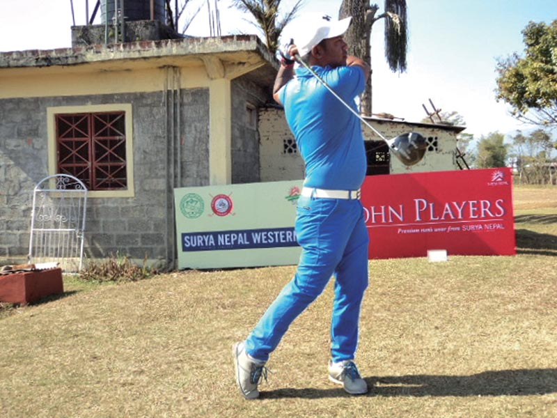 Sanjay Lama plays a shot during the first round of the Surya Nepal Western Open at Himalayan Golf Course in Pokhara on Wednesday. Photo: THT