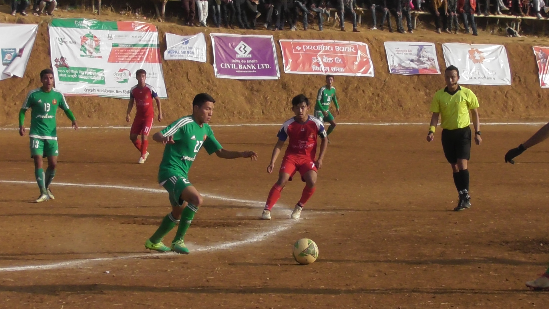 Players of TAC and RFC of Darjeeling in action during the 10th Ruslan Falgunanda Gold Cup match in Phidim on Saturday, January 12, 2019. Photo: THT