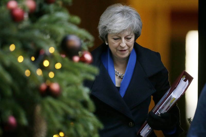 FILE - In this file photo dated Wednesday Dec. 19, 2018, Britain's Prime Minister Theresa May leaves 10 Downing Street in London. Photo: AP