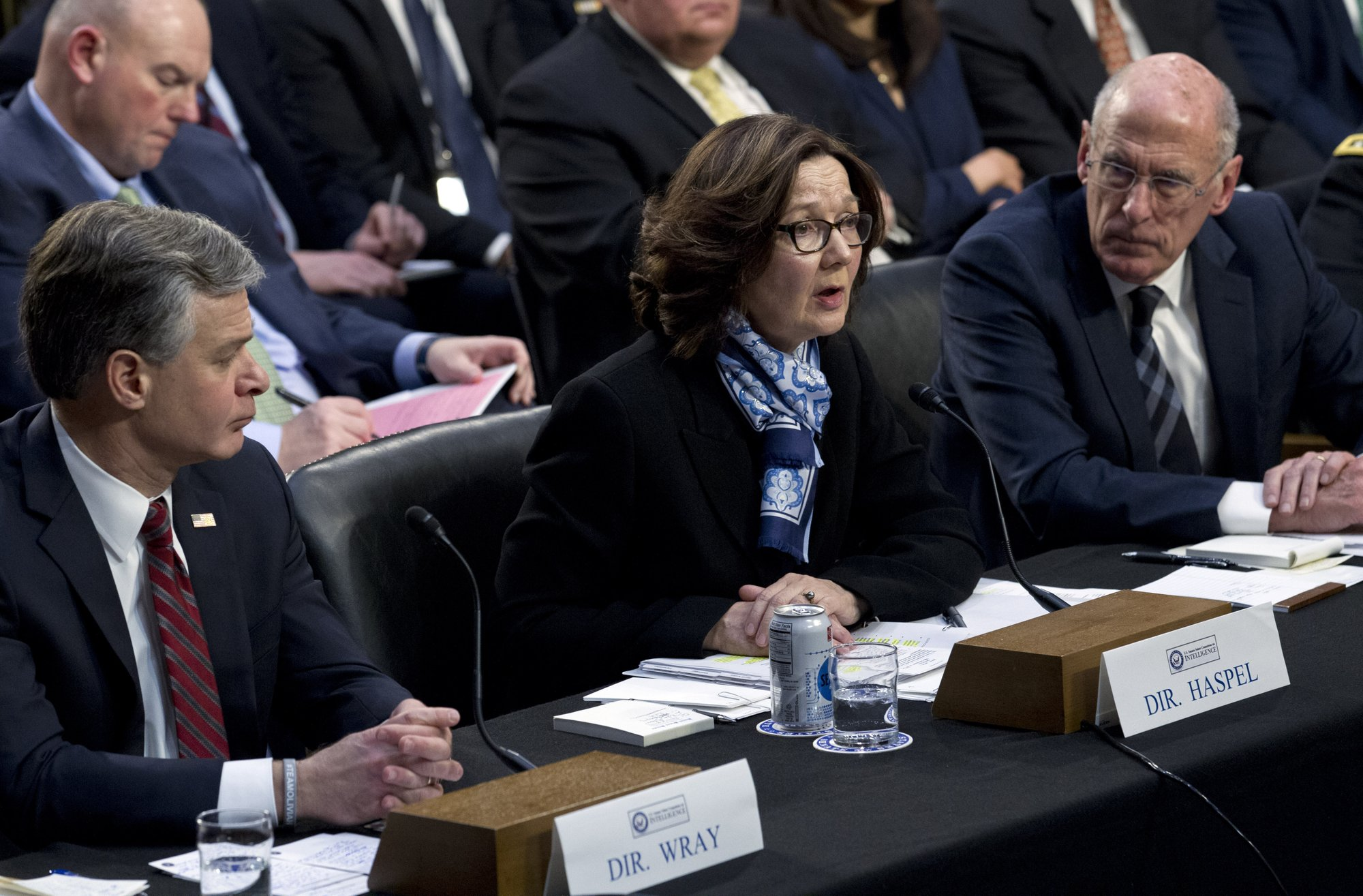 CIA Director Gina Haspel accompanied by FBI Director Christopher Wray and Director of National Intelligence Daniel Coats testifies before the Senate Intelligence Committee on Capitol Hill in Washington on Tuesday, Jan. 29, 2019. Photo: AP