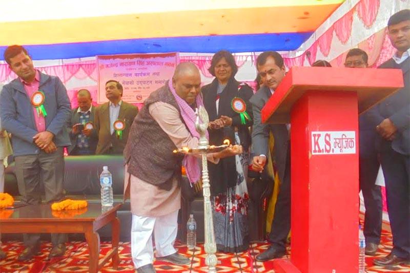 Deputy Prime Minister and Health Minister Upendra Yadav inaugurating the ICU service in Gajendra Narayan Singh Hospital at Rajbiraj, Saptari, on Thursday, January 10, 2019. Photo: THT