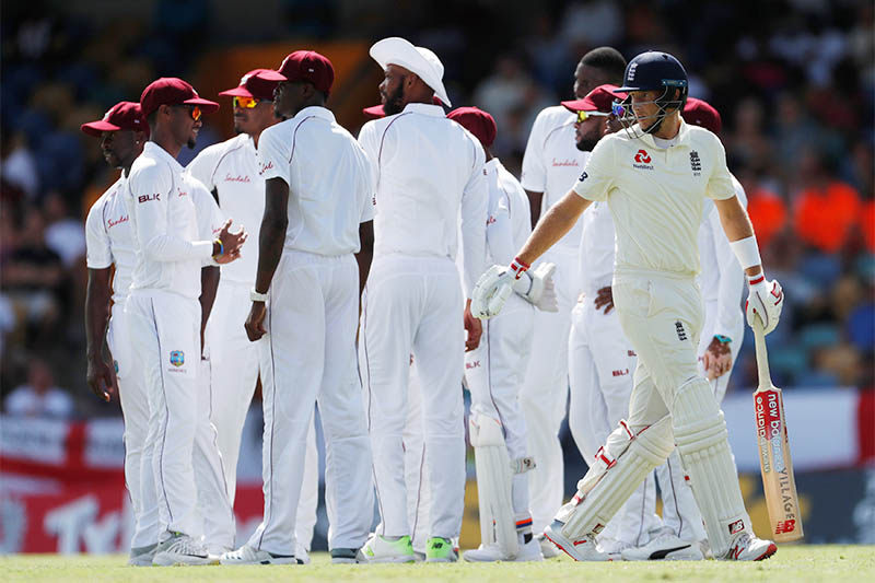 England's Joe Root reacts after losing his wicket. Photo: Reuters