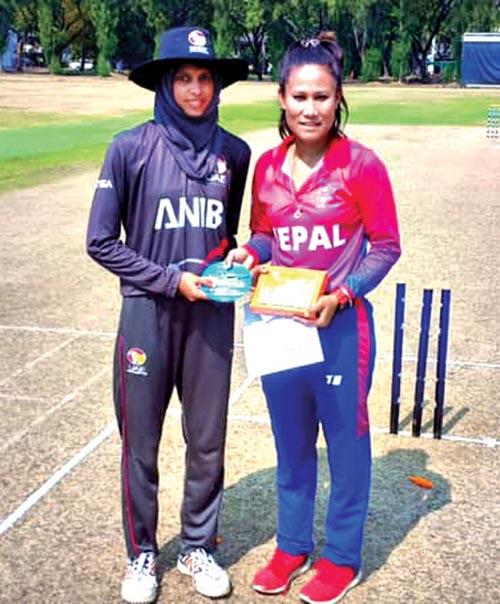 Nepal skipper Rubina Chhetri Belbashi (right) with her UAE counterpart Humaria Tasneem before their Women's T20 Smash match in Bangkok on Monday. Photo Courtesy: Cricket Association of Thailand