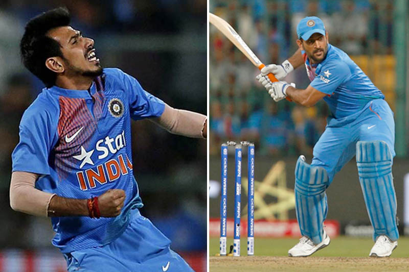 File: Indian spin bowler Yuzvendra Chahal (left) and Mahendra Singh Dhoni. Photos: Reuters