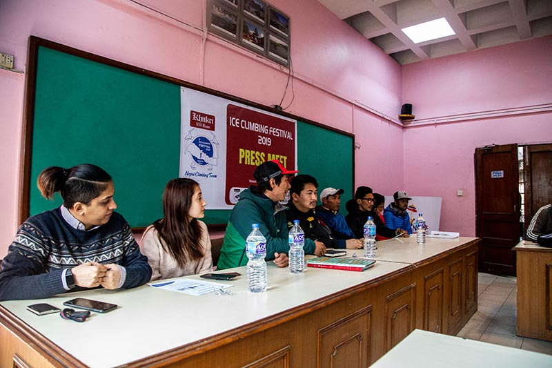Nepal Climbing Team briefing about the ice climbing festival going to be held in Manang, on Saturday, February 2, 2019. Photo Courtesy: Nepal Climbing Team