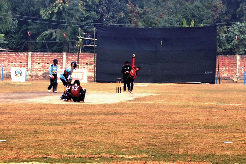 A player from Karnali Province bowls against Province3 during their Manmohan Memorial One Day National Cricket Tournament in Sunsari on Thursday. Photo: THT