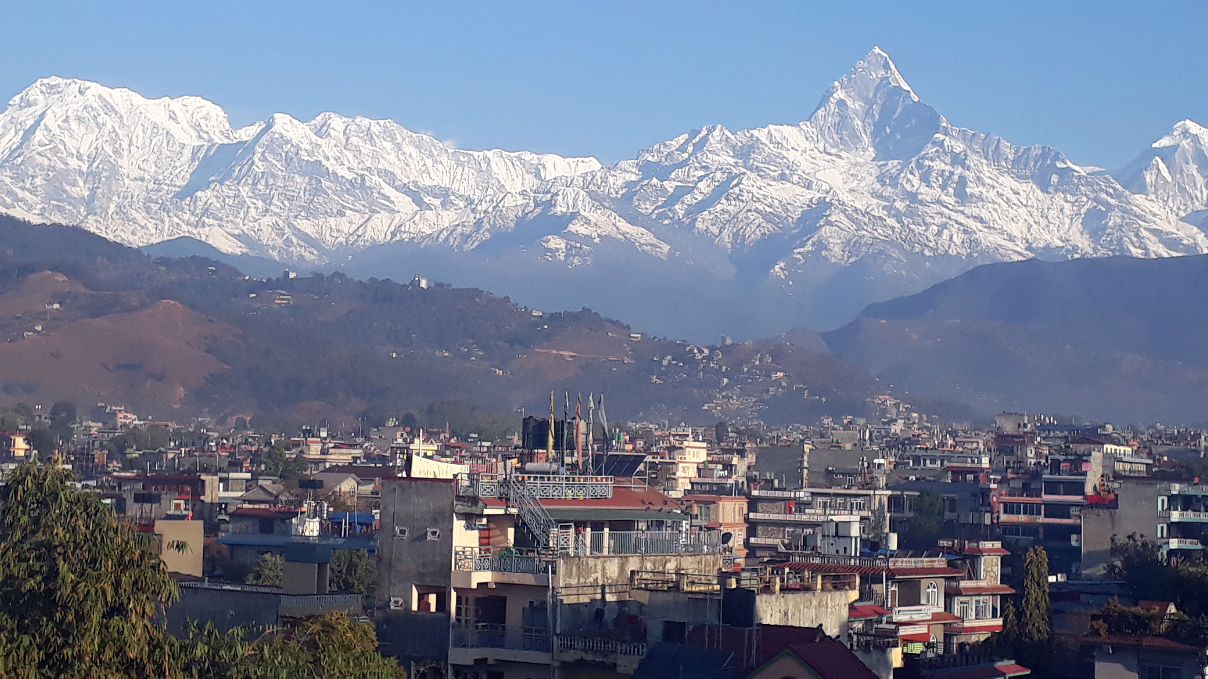 Annapurna range and Machhapuchhre Mountain as seen from Pokhara on Thursday, January 24, 2019, as the skies gradually cleared after snow fall over the week. Photo: Rishi Ram Baral/THT n