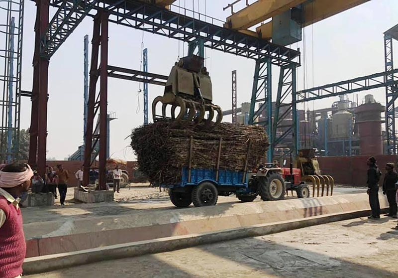 A tractor loaded with sugarcane at a sugar mill in Pokhariya, Rautahat, on Saturday. Photo: THT