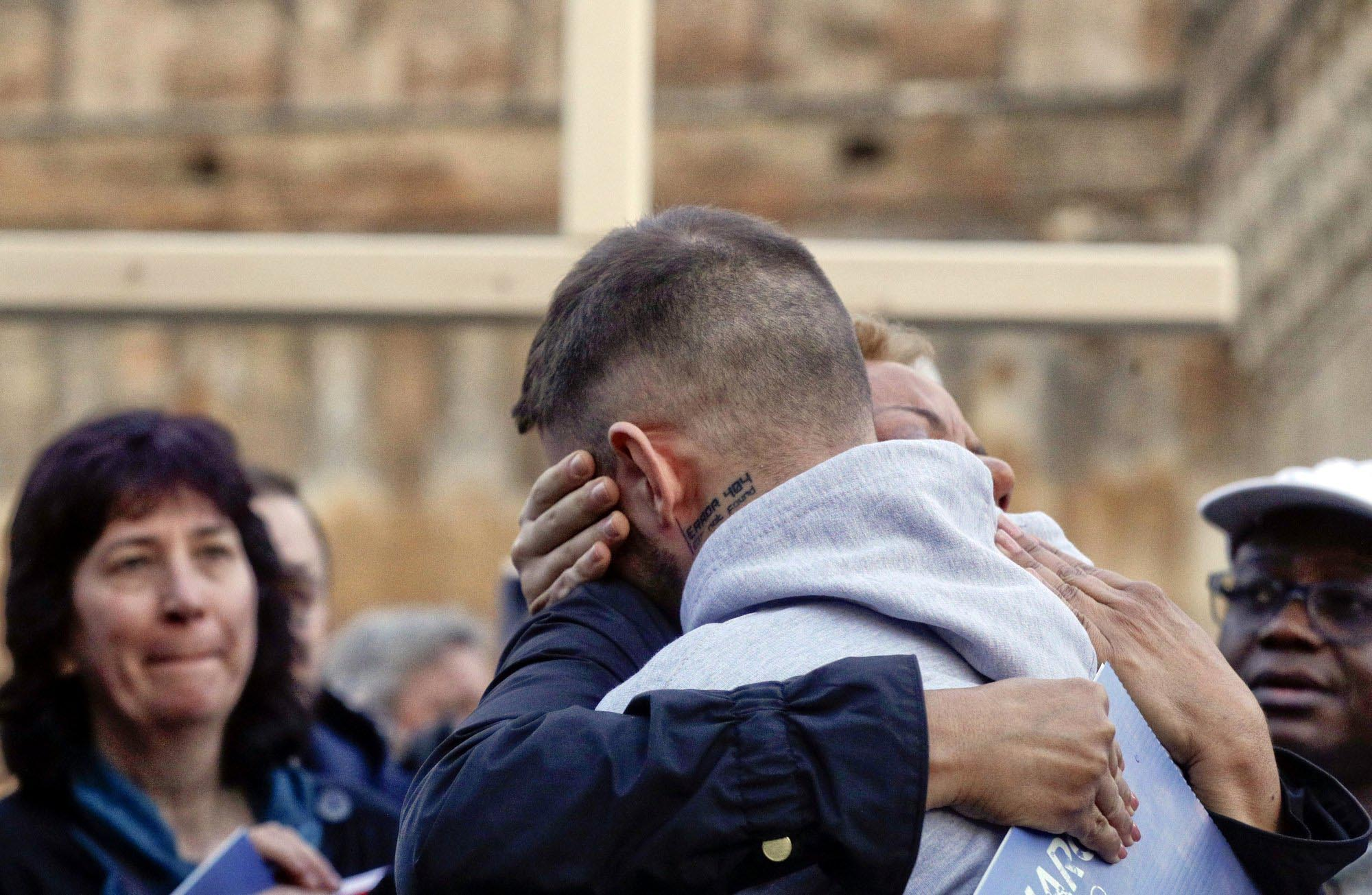 Sex abuse survivor Alessandro Battaglia, right, is hugged by survivor and founding member of the ECA (Ending Clergy Abuse), Denise Buchanan, during a twilight vigil prayer near Castle Sant' Angelo, in Rome, Thursday, Feb. 21, 2019nPhoto: AP