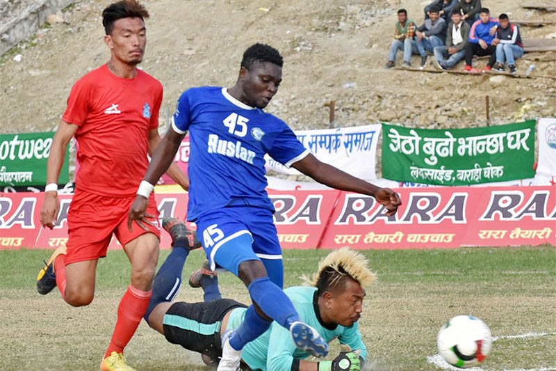 Players in action during quarter-finals of Aaha Rara Gold Cup in Pokhara today. Courtesy: Sudarshan Ranjit