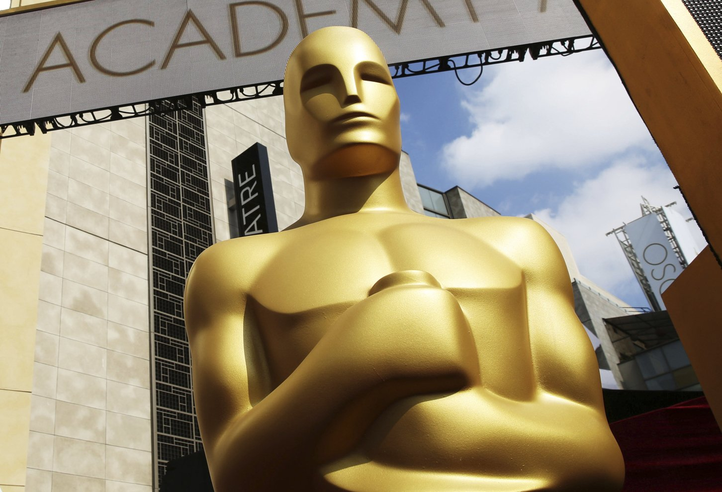 FILE - In this Feb. 21, 2015, file photo, an Oscar statue appears outside the Dolby Theatre for the 87th Academy Awards in Los Angeles. Photo: AP