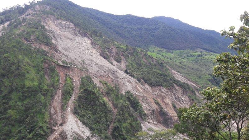 The landslide that occurred below Paima Village in Triveni Municipality of Bajura district, as captured on Friday, February 15, 2019. Photo: Prakash Singh/THT