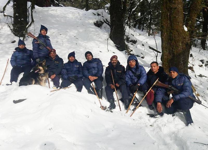 A police team patrolling the snow covered jungle area of Badimalika Municipality in Bajura, on Thursday, February 7, 2019. Photo: THT