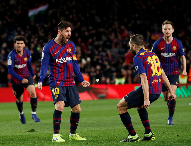 Barcelona's Lionel Messi celebrates scoring their second goal with Jordi Alba during the La Liga Santander match between FC Barcelona and Valencia, at Camp Nou, in Barcelona, Spain, on February 2, 2019. Photo: Reuters
