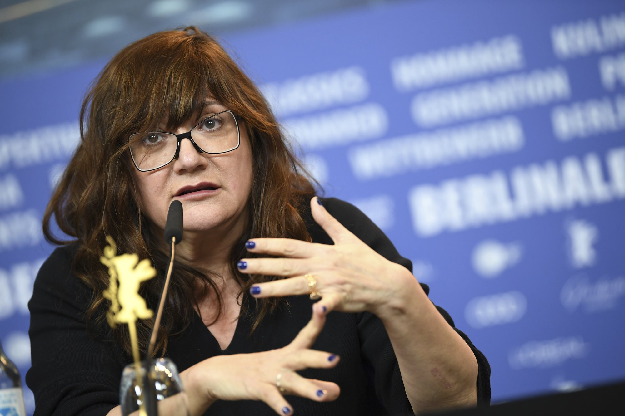 Director Isabel Coixet attends a news conference about the film 'Elisa und Marcela' at the 2019 Berlinale Film Festival in Berlin, Germany, on Wednesday, Feb. 13, 2019. Photo: AP