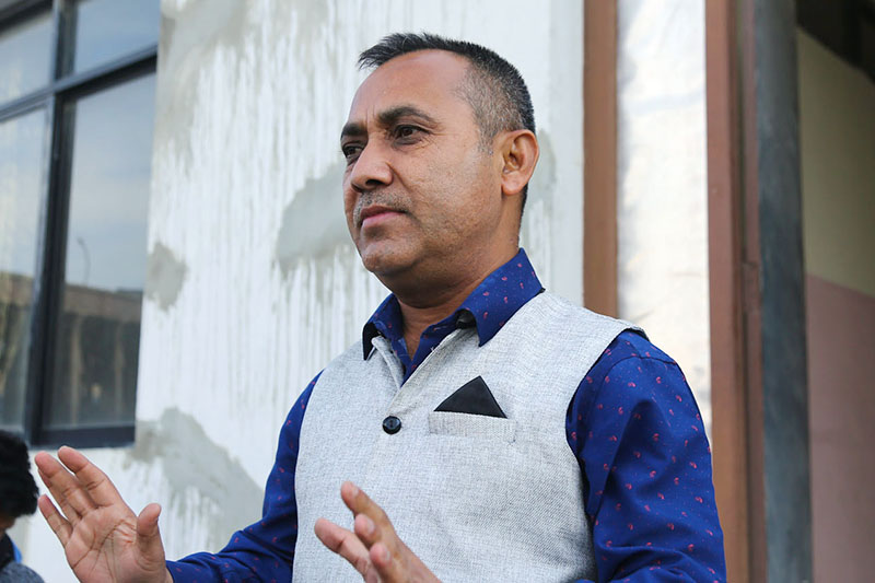 FILE - Nepali Congress spokesperson Bishwa Prakash Sharma speaks to media at party's head office in Sanepa of Lalitpur on Tuesday, February 26, 2019. Photo: RSS