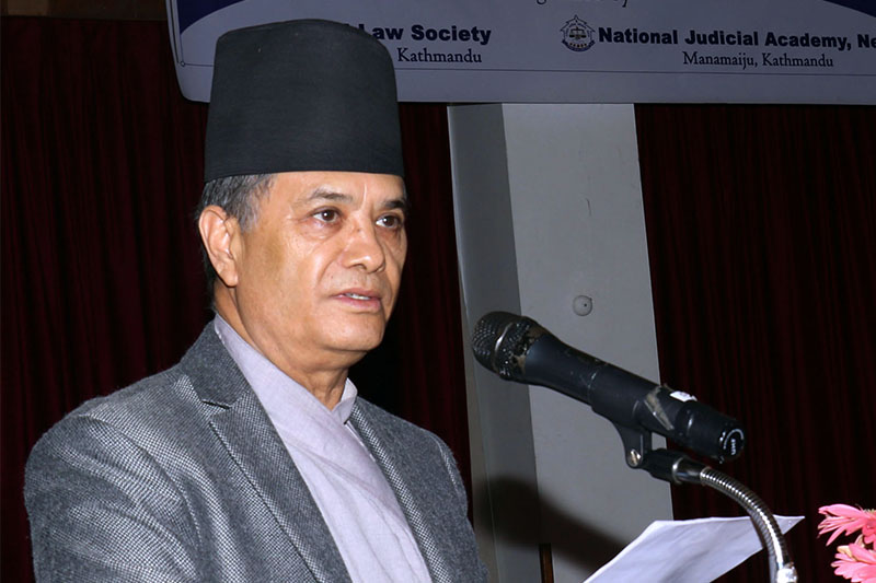 Chief Justice Cholendra Shumsher JB Rana speaks at a programme in Kathmandu, on Friday, February 08, 2019. Photo: RSS
