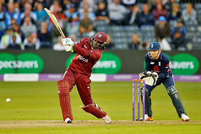 File: West Indies' Chris Gayle bats against England. Photo: Reuters