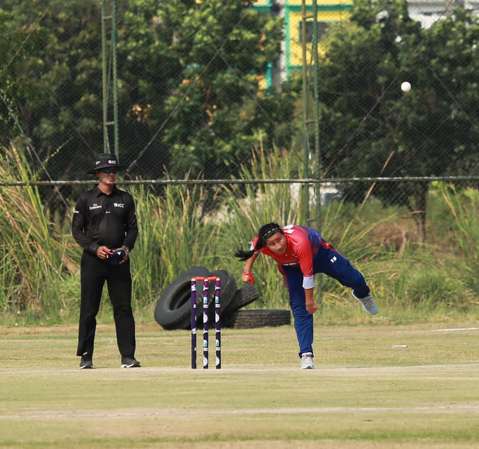 Nepalu2019s Sita Rana Magar bowls against China during their ICC Womenu2019s Qualifiers Asia match at the Terdthai Cricket Ground in Bangkok on Monday. Photo: THT