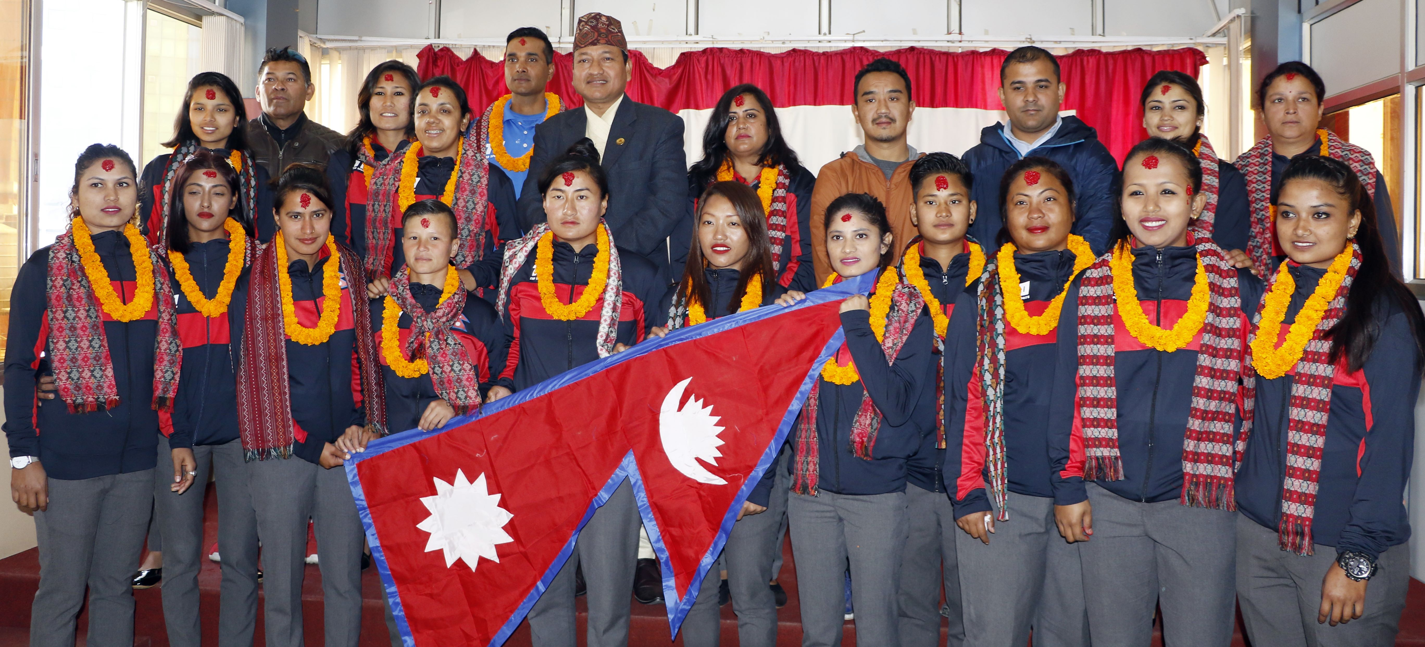 Nepal women national cricket team members pose for a group photo with officials after a farewell programme in Kathmandu on Saturday, ahead of their departure to Thailand. Photo: THT