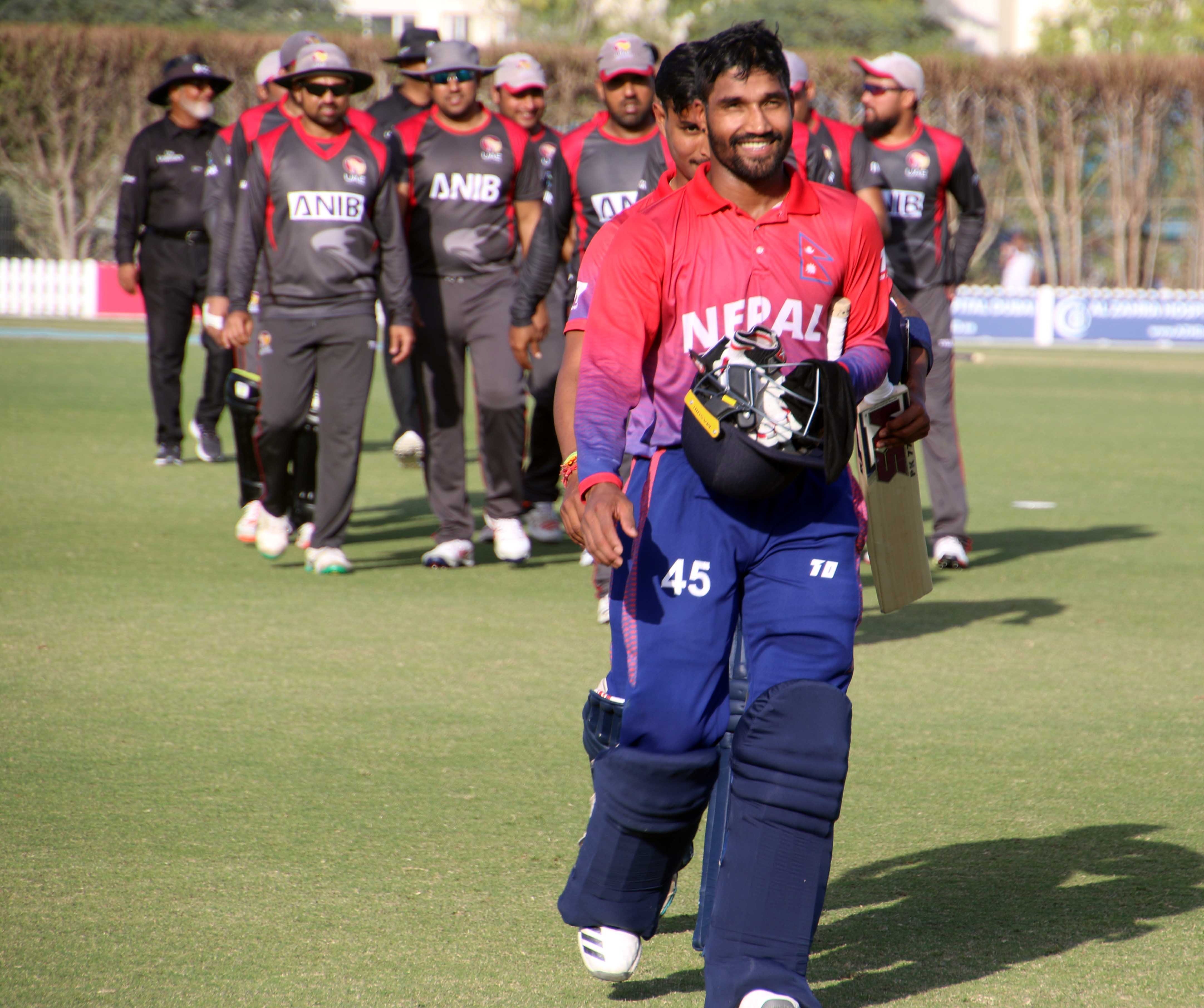 Nepalu2019s Dipendra Singh Airee walks of the pitch after batting against the UAE in their second match of the Twenty20 International series in Dubai on Friday. Photo: THT